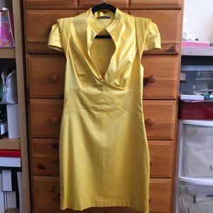 Black Halo minidress in yellow cotton/spandex